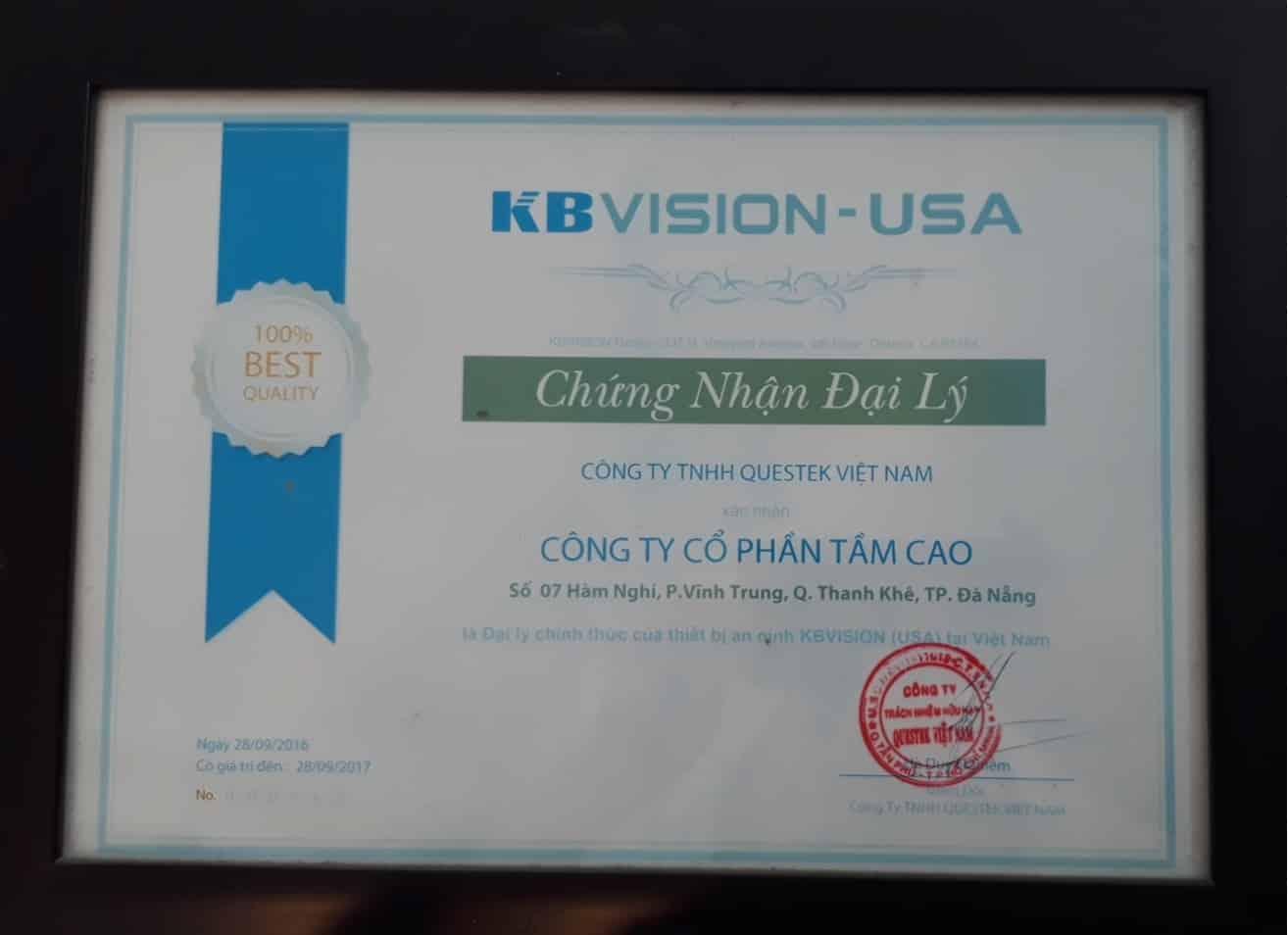Chứng nhận đại lý camera kbvision tại Đà Nẵng