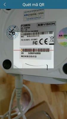 CHỌN SN ĐỂ QUÉT QR CODE camera Kbvision