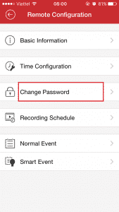 Chọn Change Password
