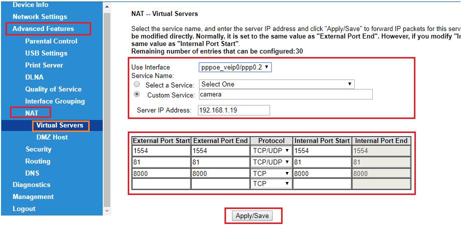 Chọn NAT Port Forwarding Virtual Sever