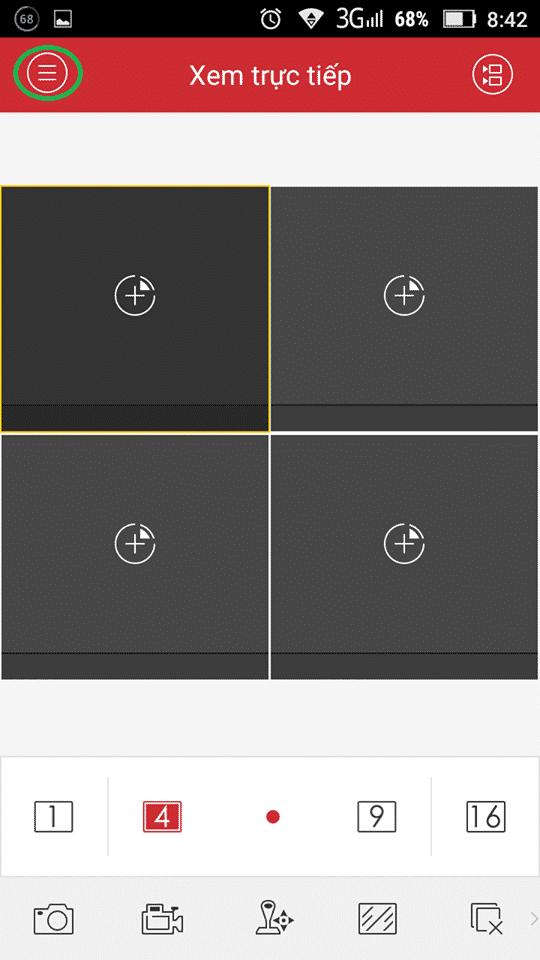 Kích chọn dấu 3 gạch ở bên trái ứng dụng