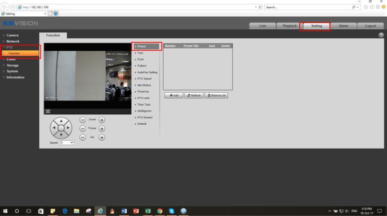 Cài đặt chức năng Preset camera speed dome Kbvision-min