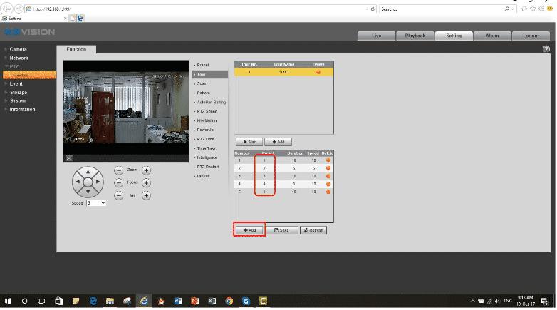 Cài đặt chức năng Tour camera speed dome Kbvision4-min