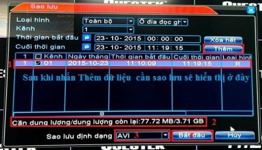 Chọn Ngày Giờ trích xuất dữ liệu camera Kbvision