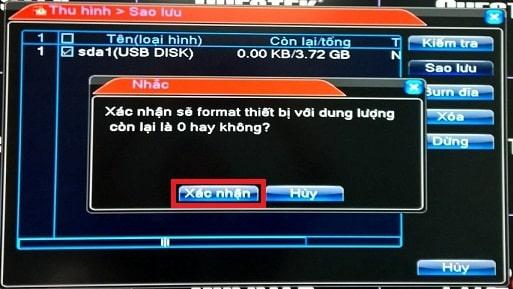 Format USB để trích xuất camera Kbvision