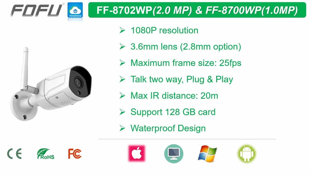 Camera IP Wifi HD1080P FOFU FF-8702WP