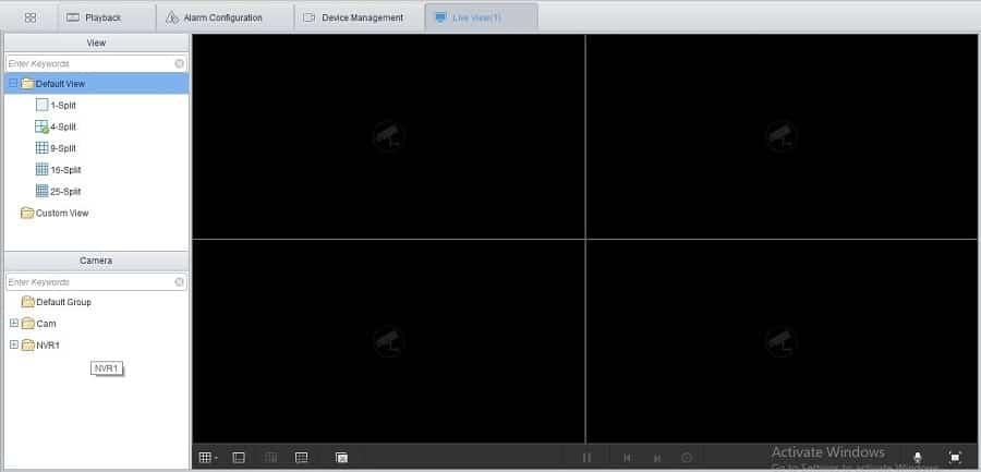 Giao diện xem trực tiếp camera Uniview