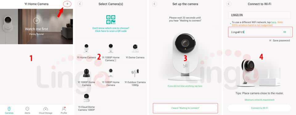 Các bước kết nối camera YI-