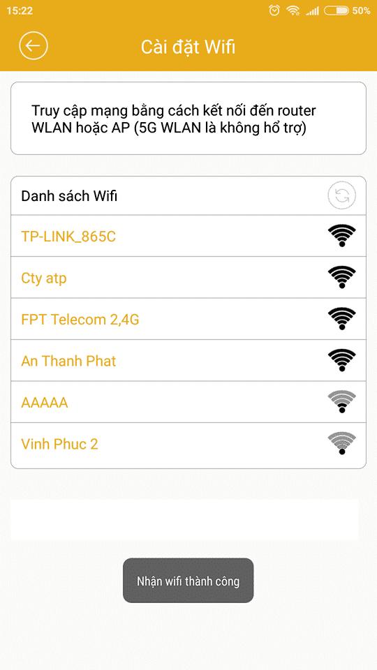 Chọn danh sách wifi