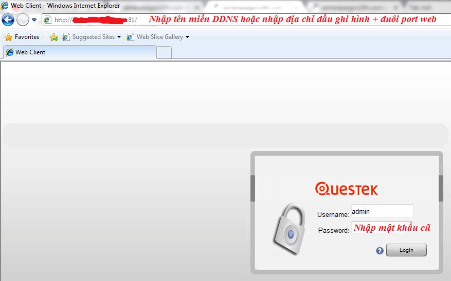Giao diện đăng nhập trên IE