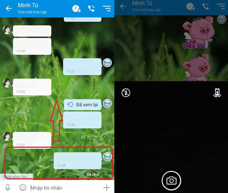 Giao diện chat phần mềm Zalo