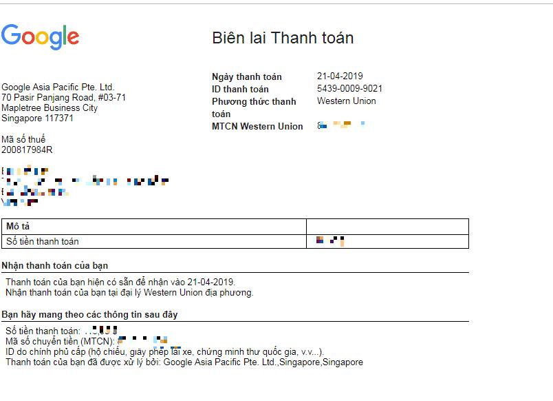 Biên Lai Thanh Toán Google Adsense 2019
