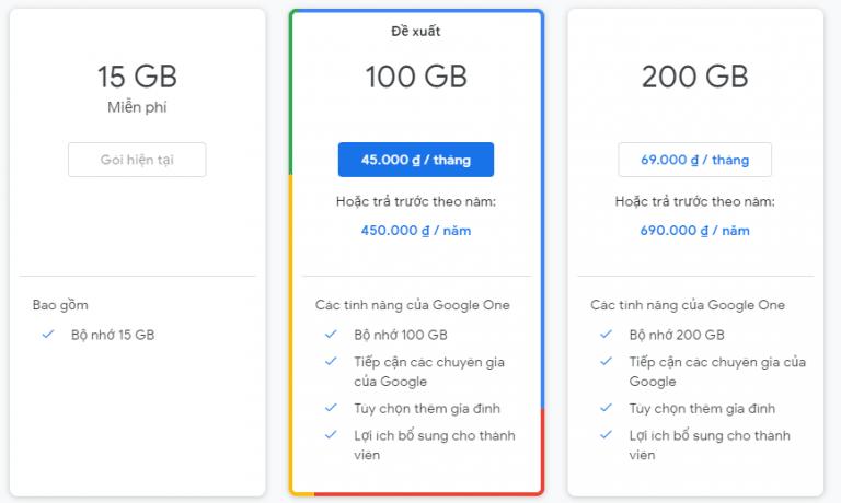 Các gói có phí của Google Drive