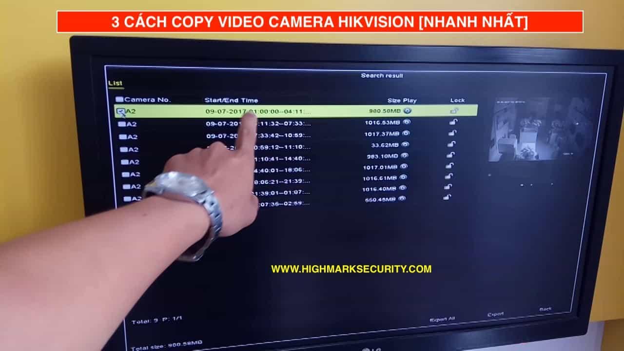 Cách trích xuất camera Hikvision