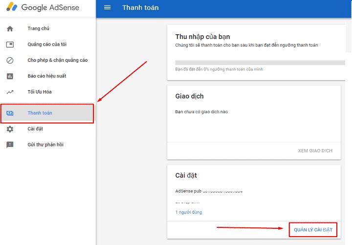 Mục Thanh Toán Google Adsense