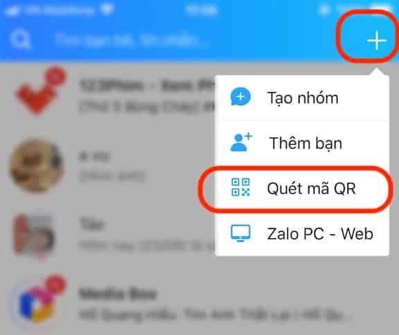Mục quét mã QR trên ứng dụng Zalo