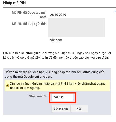 Nhập Mã PIN Google AdSense
