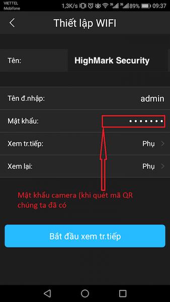 Nhập mật khẩu camera KBONE