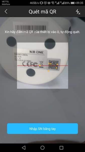 Quét mã QR trên ứng dụng xem camera