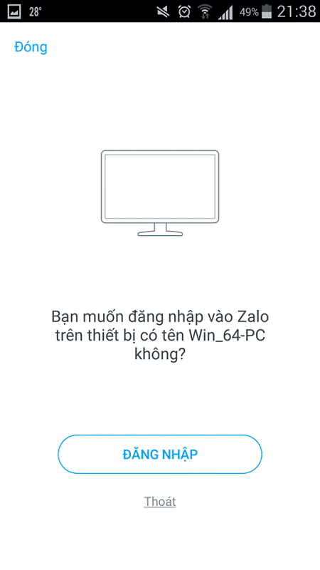 bạn muốn đăng nhập vào Zalo trên thiết bị có tên