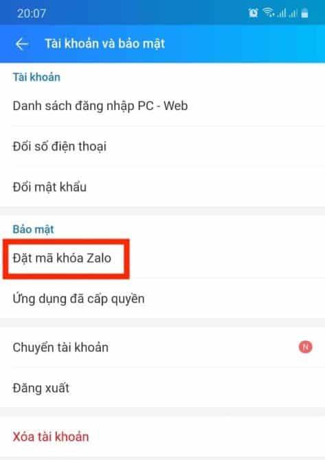 chọn mục đặt mã khoá Zalo