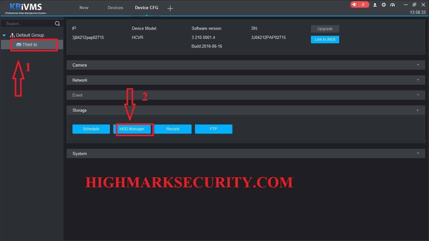 Bấm vào thiết bị cần format sau đó chọn mục HDD Manager