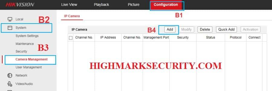 Các bước để thêm camera IP vào đầu ghi hikvision