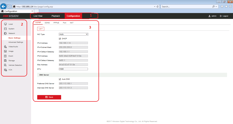 Cài đặt mạng Hikvision