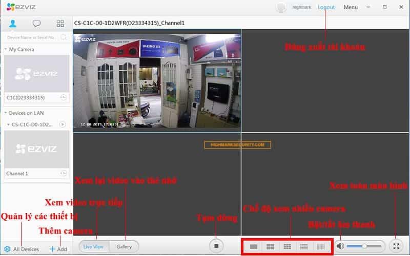Các chức năng phần mềm camera Ezviz Studio