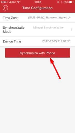Chọn đồng bộ thời gian với điện thoại