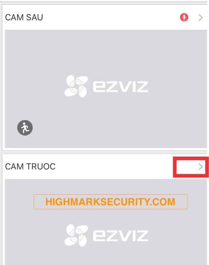 Chọn dấu mũi tên ứng dụng camera Ezviz
