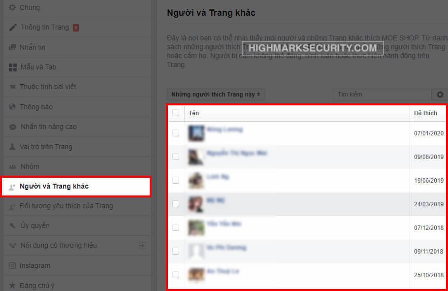 Kiểm tra tài khoản Fan đã bấm like page