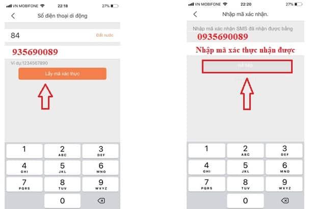 Nhập mã xác thực từ số điện thoại