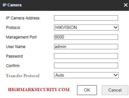 Nhập thông tin camera IP cần thêm