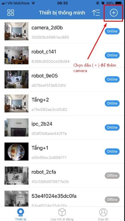 Ấn vào dấu (+) để thêm camera.