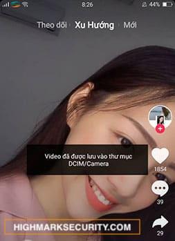 Báo lưu video thành công điện thoại