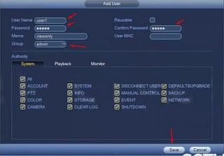Chọn mật khẩu tài khoản mới Dahua