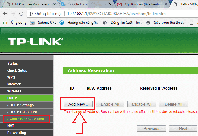 """Nhấn vào mục """"DHCP"""", chọn """"Address Revervation"""", sau đó chọn """"Add New"""" ở cửa sổ bên phải."""
