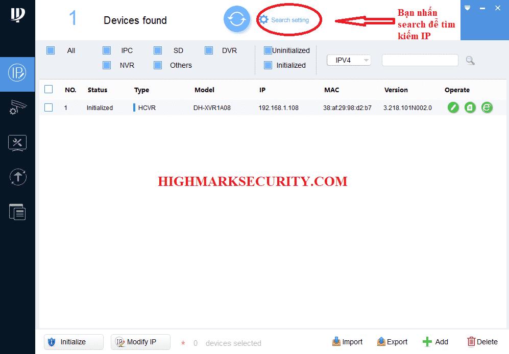 Nhấn vào search setting để dò tìm IP