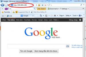 Nhập địa chỉ IP vào IE